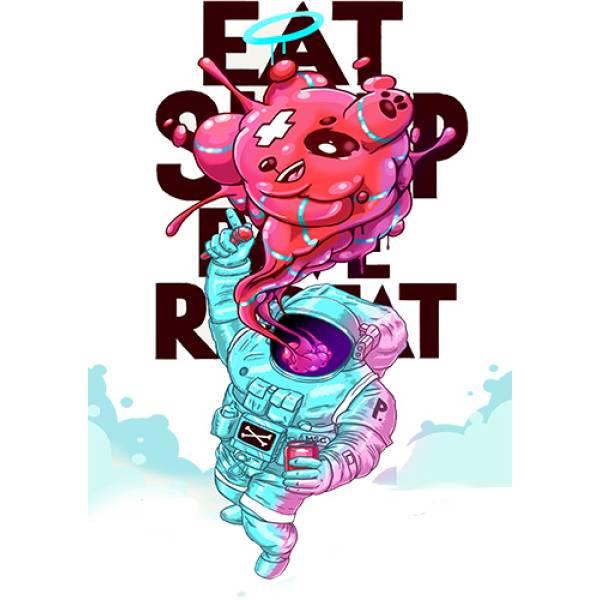 T-shirt unisex Takeposition T-cool λευκό Eat sleep repat, 900-1517