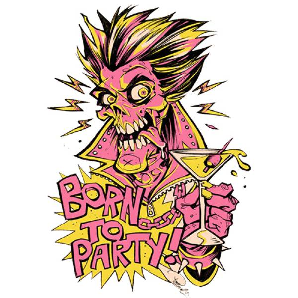 T-shirt unisex Takeposition T-cool λευκό Born to party, 900-1525