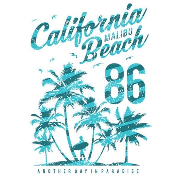 T-shirt unisex Takeposition T-cool λευκό California Malibu Beach, 900-2501