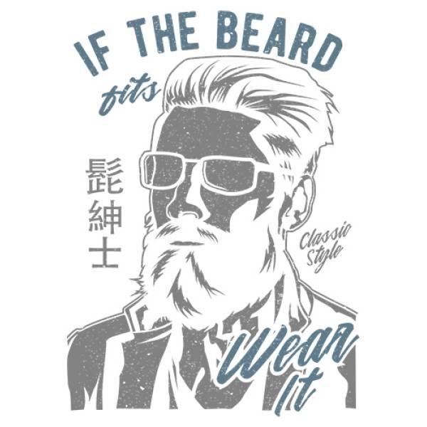 T-shirt unisex Takeposition T-cool λευκό If the Beard fits Wear it, 900-2507