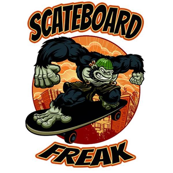T-shirt unisex T-cool λευκό Scateboard Freak, 900-5525