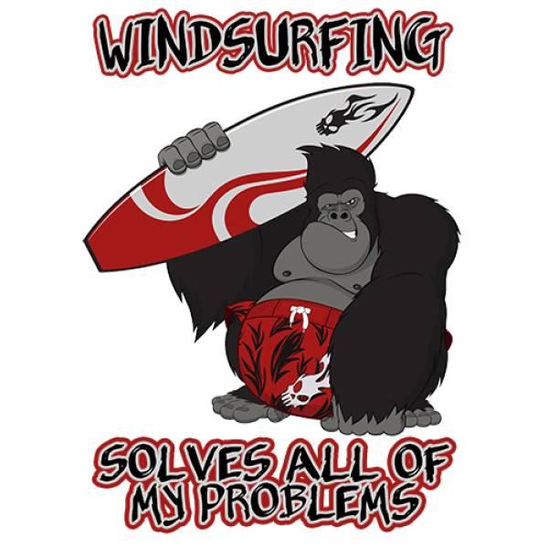 T-shirt unisex T-cool λευκό Windsurfing solves problem, 900-5526
