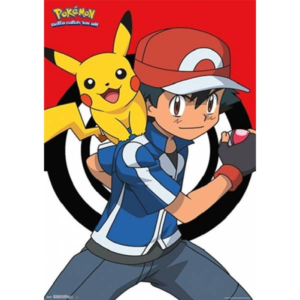 T-shirt unisex T-cool λευκό Ash and Pikachu in act, 900-1035