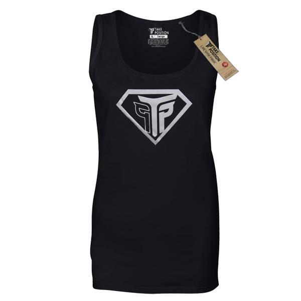 Μπλουζάκι τιραντέ γυναικείο Takeposition, Super Silver, Μαύρο, 503-0019