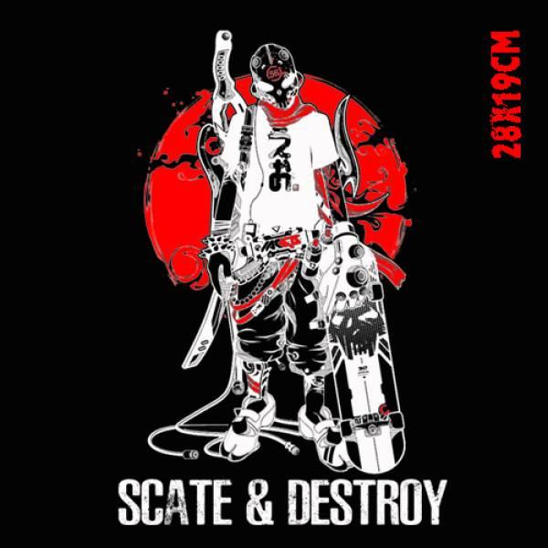 Μπλουζάκι ανδρικό ΒΑΜΒΑΚΕΡΟ Takeposition, Scate & Destroy, Μαύρο, 307-2003