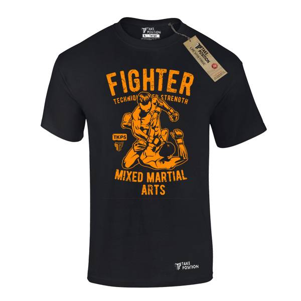 T-SHIRT TAKEPOSITION ΒΑΜΒΑΚΕΡΟ , MMA FIGHTER, 150GR, ΜΑΥΡΟ, 307-5511