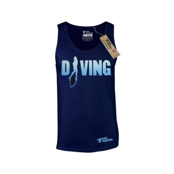 Takeposition ανδρικά μπλουζάκια τιράντα Diving μπλε, 309-5520