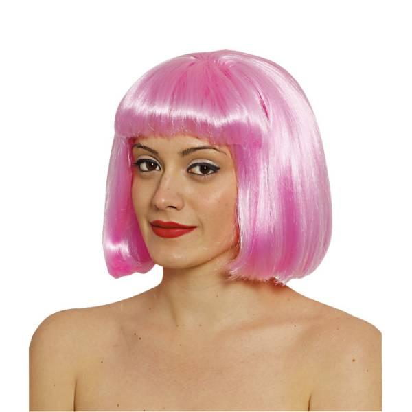 Περούκα αποκριάτικη καρέ με φράντζα, Ροζ, Maskarata, a0115-roz