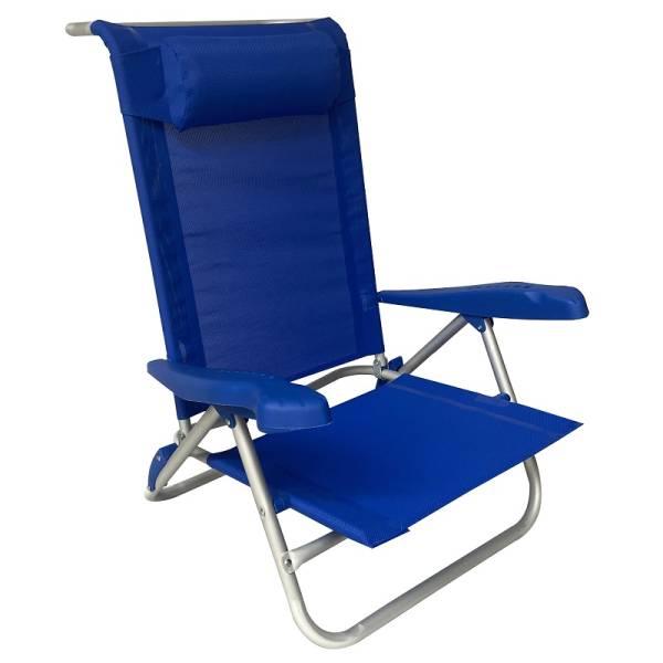 Καρέκλα αλουμινίου 7 θέσεων και θέση οριζόντια με μαξιλαράκι, Zanna N.1113, Μπλε, 21-02404